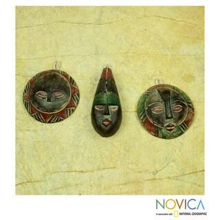 Set of 3 Handcrafted Sese Wood 'Royal Kings' Ornaments (Ghana)