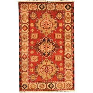 Herat Oriental Indo Hand-knotted Tribal Kazak Gold/ Burgundy Wool Rug (3' x 5')