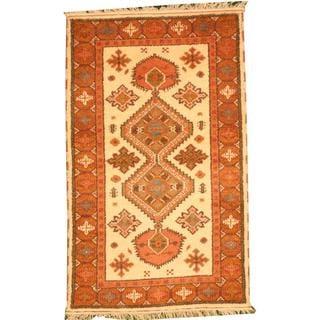 Herat Oriental Indo Hand-knotted Tribal Kazak Rust/ Ivory Wool Rug (3' x 5')