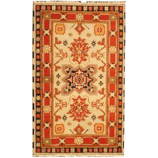 Herat Oriental Indo Hand-knotted Tribal Kazak Light Green/ Red Wool Rug (3' x 5')