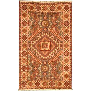 Herat Oriental Indo Hand-knotted Tribal Kazak Grey/ Ivory Wool Rug (3' x 5')