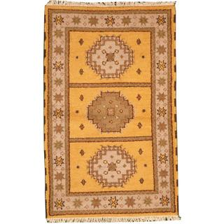 Herat Oriental Indo Hand-knotted Tribal Kazak Gold/ Ivory Wool Rug (3' x 5')