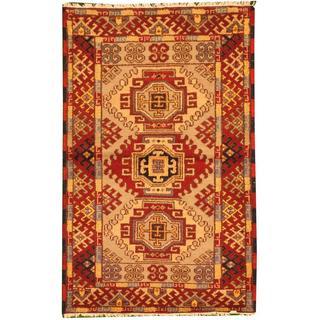 Herat Oriental Indo Hand-knotted Tribal Kazak Gold/ Red Wool Rug (3' x 5')