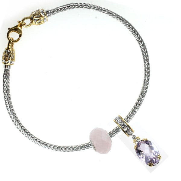 Michael Valitutti Pink Amethyst Hanging Charm and Rose Quartz Faceted Bead Bracelet Charm