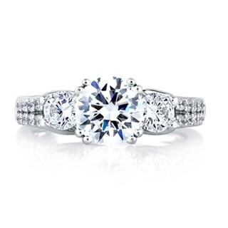 A JAFFE 18k White Gold 7/8ct TDW Three Diamond Semi Mount Engagement Ring (G-H, VSSI)