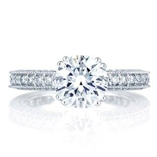 A JAFFE 18k White Gold 7/8ct TDW Diamond Semi Mount Engagement Ring (G-H, VSSI)