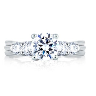 A JAFFE 18k White Gold 3/5ct TDW Diamond Semi Mount Engagement Ring (G-H, VSSI)
