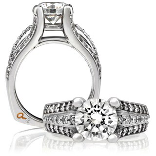 A JAFFE 18k White Gold 3/5ct TDW Diamond Semi Mount Engagement Ring (G-H, VSSI)