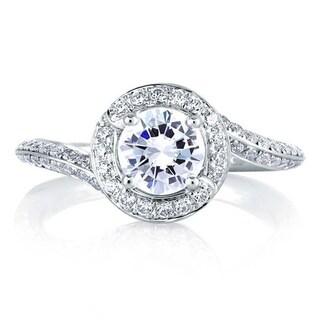 A JAFFE 18k White Gold 1/2ct TDW Diamond Semi Mount Engagement Ring (G-H, VSSI)