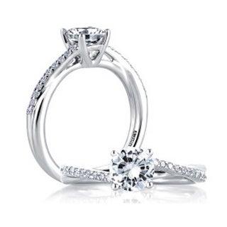 A JAFFE 18k White Gold 1/8ct TDW Diamond Semi Mount Engagement Ring (G-H, VSSI)