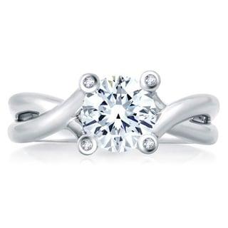 A JAFFE 18k White Gold Diamond Semi Mount Engagement Ring