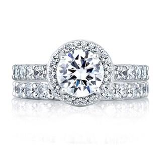 A JAFFE 18k White Gold 2/5ct TDW Diamond Semi Mount Engagement Ring Set (G-H, VSSI)