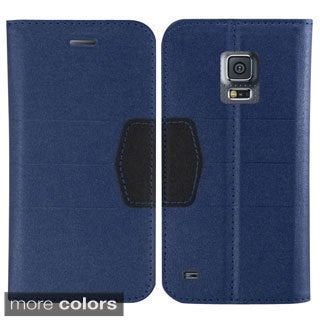INSTEN Book-Style Leather Fabric Case With Stand For Samsung Galaxy S5