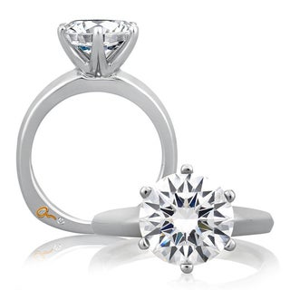 A JAFFE 18k White Gold Diamond Semi Mount Solitaire Engagement Ring