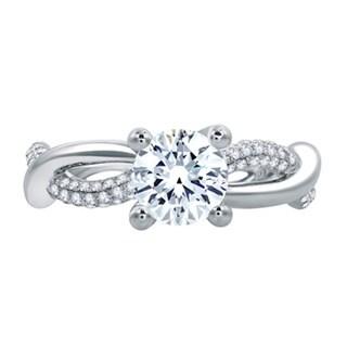 A JAFFE 18k White Gold 1/3ct TDW Diamond Semi Mount Engagement Ring (G-H, VSSI)