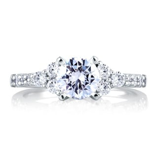 A JAFFE 18k White Gold 2/5ct TDW Diamond Semi Mount Engagement Ring (G-H, VSSI)