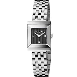 Gucci Women's YA128403 G-Frame Black Dial Stainless Steel Watch