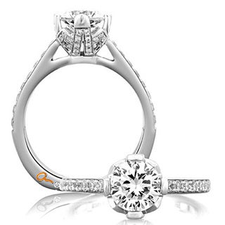 A JAFFE 18k White Gold 2/5ct TDW Diamond Semi Mount Engagement Ring (G-H, VSSI)
