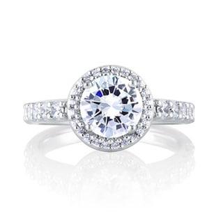 A JAFFE 18k White Gold 1/4ct TDW Diamond Semi Mount Engagement Ring (G-H, VSSI)