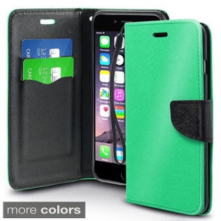 INSTEN Plain Wallet Pouch Leather Phone Case with Card Slot For iPhone 6 Plus