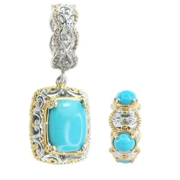 Michael Valitutti Palladium Silver Sleeping Beauty Turquoise Charm Set