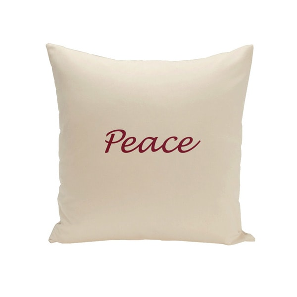 Square 18-inch Holiday Brights Collection Shearling/ Cranberry Peace Pillow
