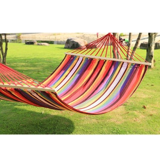Adeco Hammock with Spreader Bar Tree Hanging Suspended Outdoor Indoor Bed Bermuda Color 118-inch