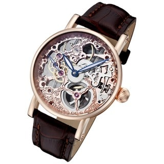 Rougois Men's 'Rosarita' Rose Goldtone Skeleton Watch