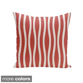 Square 20-inch Holiday Brights Collection Wavy Stripe Throw Pillow