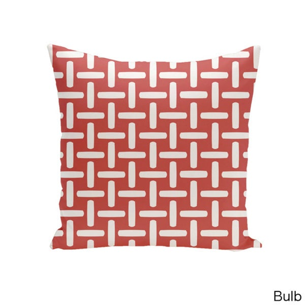 Square 26-inch Holiday Brights Collection Geometric Grid Pillow