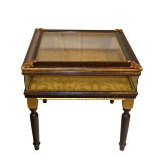 Authentic Hand Made Gold Glass Shadow Box Table