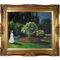 Claude Monet Jeanne Marguerite Lecadre (Lady in a Garden) Hand Painted Framed Canvas Art