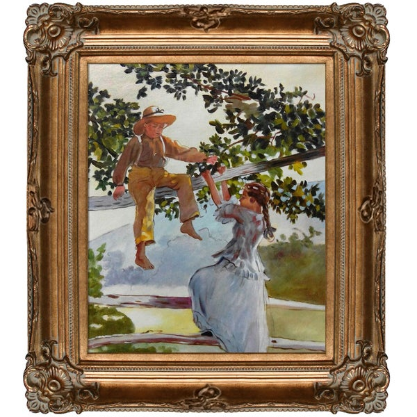 Winslow Homer On the Fence Hand Painted Framed Canvas Art