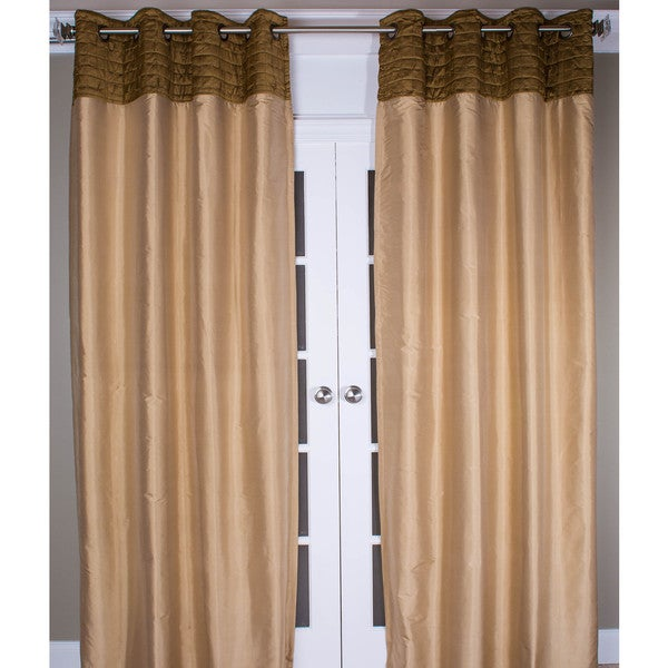 Quilted Silk Dupioni Grommet Top Curtain Panel