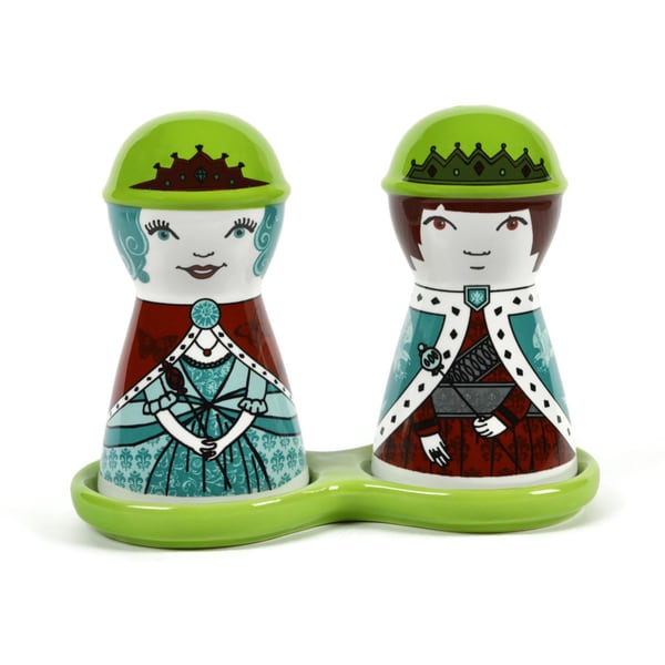 King and Queen Ceramic Salt and Pepper Shakers Set