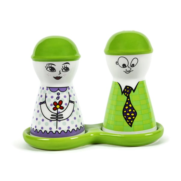 Green Happy Couple Ceramic Salt and Pepper Shakers Set