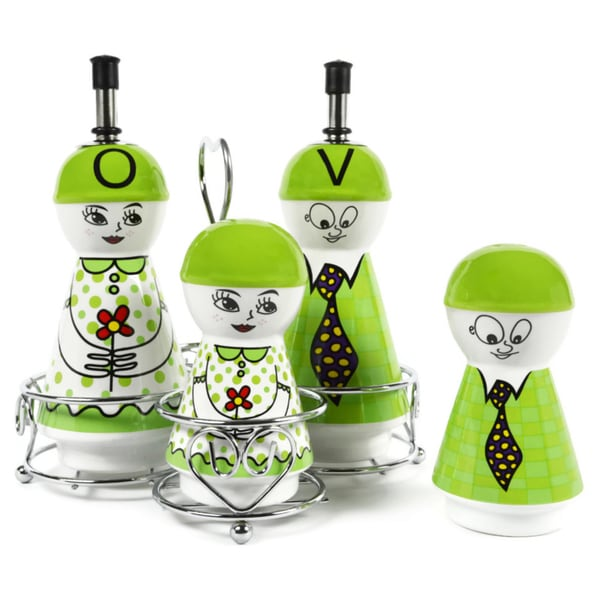 Green Family Ceramic Oil and Vinegar Dispensers, Salt and Pepper Shakers Cruet Set