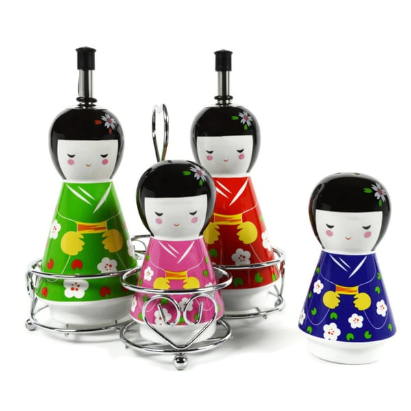 Geisha Ceramic Oil and Vinegar Dispensers, Salt and Pepper Shakers Cruet Set