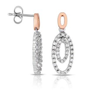 Eloquence 14k White Gold 2/5ct TDW Diamond Oval-Earrings (H-I, I2-I3)