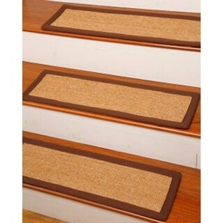 "Handcrafted Attachable Alexandria Natural Fiber Sisal 9"" x 29"" Carpet Stair Treads (Set of 13)"