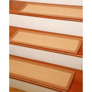 "Handcrafted Attachable Acadia Natural Fiber Sisal 9"" x 29"" Carpet Stair Treads (Set of 13)"