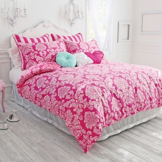 Wake Up Frankie Pink Perfection 3-piece Damask Comforter Set