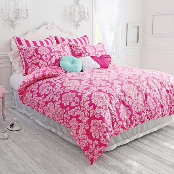 Wake Up Frankie Pink Damask Comforter Set