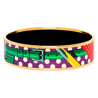 Goldplated Hermes Small Printed Enamel Bangle