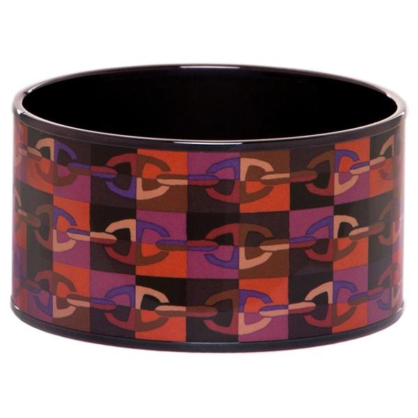 Hermes Black PVD-plated Silver Extra Wide Printed Enamel Bracelet