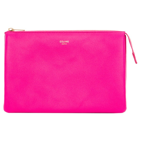 Celine Solo Trio Hot Pink Leather Cosmetic Pouch - 16736302 ...