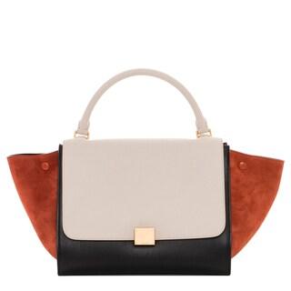 Celine Medium Trapeze Leather and Suede Satchel