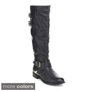 Puzzle Women's 'Indigo' Faux Leather Knee-high Riding Boots