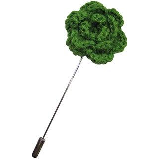 Dmitry Men's Green Crocheted Flower Lapel Pin