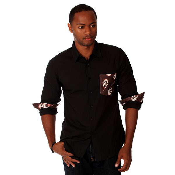 00Nothing Men's, Cotton, Solid Shirt with Contrast Pocket